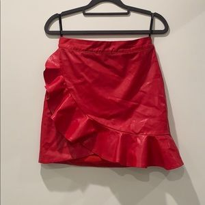 Majorelle Red Leather Mini Ruffled Skirt: Size S